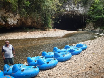 Tubes ready for us to float through the cave system in Belize.